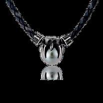 Ledercollier mit Anhänger in Silber und einer Tahitiperle aus der Gremlin Männerschmuck Kollektion der Goldschmiede OBSESSION