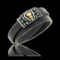 Schwarzes, doppelreihiges Lederarmband mit Verschluss in Silber und einem Schädel in Rotgold aus der Mikrokosmos Männerschmuck Kollektion der Goldschmiede OBSESSION