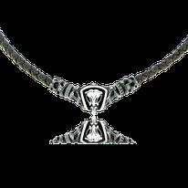 Geknüpftes Ledercollier mit Schädel Anhänger in Silber aus der Mikrokosmos Männerschmuck Kollektion der Goldschmiede OBSESSION