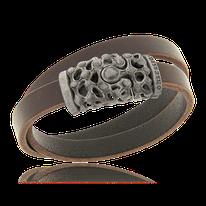 Braunes, doppelreihiges Lederarmband mit Silber Verschluss aus der Mikrokosmos Männerschmuck Kollektion der Goldschmiede OBSESSION