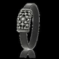 Armband mit Vintage-Leder in schwarz mit einem Silber Schloss von der Goldschmiede OBSESSION in Zürich  und Wetzikon