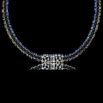 Geknüpftes Ledercollier mit Verschluss in Silber aus der Mikrokosmos Männerschmuck Kollektion der Goldschmiede OBSESSION