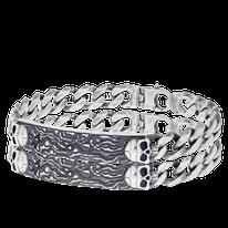 Armband in geschwärztem Silber mit Schädeln aus der Schatzkarten Kollektion der Goldschmiede OBSESSION