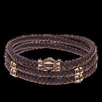 Armband aus geknüpften Leder mit Verschluss und Zwischenteilen in Rotgold aus der Gremlin Männerschmuck Kollektion der Goldschmiede OBSESSION