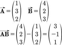 Beispiel für einen Verbindungsvektor in 3D
