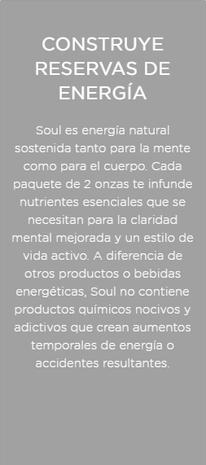 Soul construye reservas de energía para la mente y el cuerpo