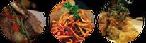 Gerichte zum Wein, gebratenes Lamm, Pasta, Risotto