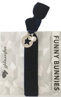1 elastisches Samt Armband mit Anhänger Velvet Pearl navy