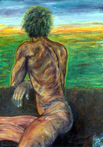 Rueckenasicht eines nackten Mannes mit Blick auf eine weite Landschaft