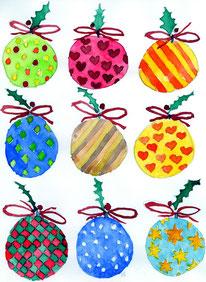 Grußkarte Weihnachtskugeln Weihnachten
