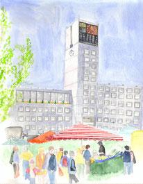 Grußkarte Stuttgart Marktplatz Rathaus