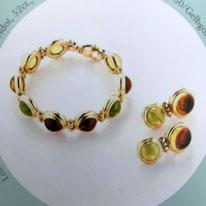 Lilienarmband und Ohrringe, 750er Gelbgold, Sabine Halstrick Schmuckdesign