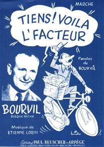 """Affiche """"Tiens voilà l'facteur"""" par Bourvil"""