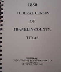 Cover of 1880 Federal Census of Franklin County, Texas