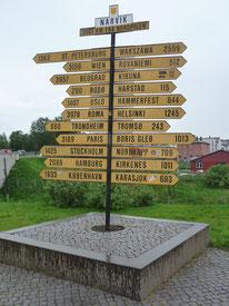 Hinweis im Zentrum von Narvik