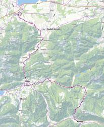 Route von Bernau nach Waidring