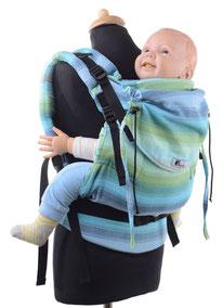 Huckepack Full Buckle Toddler, mitwachsende Tragehilfe , gut gepolsterte Träger und Hüftgurt, wird mit Schnallen geschlossen.