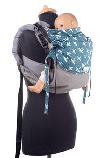 Huckepack Onbu, mitwachsende Babytrage, gut gepolsterte Träger, leicht und schnell anzulegen.