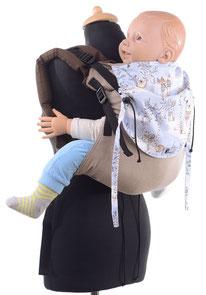 Huckepack Onbuhimo, Babytrage mit stufenlos mitwachsendem Panel aus Tragetuchstoff, gut gepolsterte Träger, 100% Biobaumwolle.