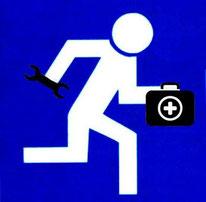 Symbolisierte Person mit Erste-Hilfe-Koffer und Schraubenschlüssel