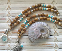 jasper & chrysocolla gemstone crystal power necklace handmade noosa