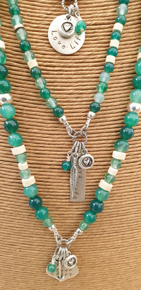Green agate inspirational gemstone necklaces handmade in Noosa Australia