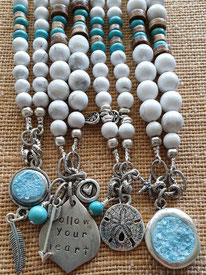 White howlite inspirational gemstone necklaces handmade in Noosa Australia