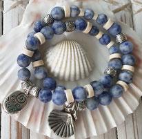 Sodalite Synergy gemstone crystal Charm Bracelet handmade noosa