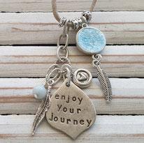 Quartz crystal affirmation word vegan necklaces handmade in Noosa Australia