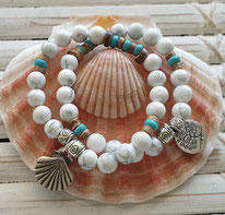 white howlite harmony beach bracelets handmade in Noosa  Australia