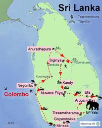 Bild: Karte von Sri Lanka mit der Reiseroute