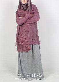Накидка шерстяная с рукавами (розовая)
