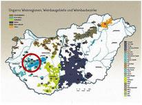 Ungarn Karte Weinbaugebiete hervorgehoben Badacsony am Balaton