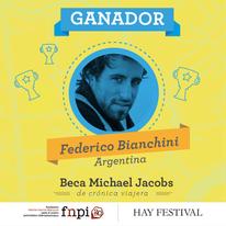 Federico Bianchini anunciado como ganador // Cartel de FNPI
