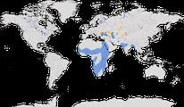 Karte zur Verbreitung des Rosapeilkans (Pelecanus onocrotalus)