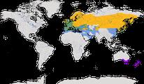 Karte zur Verbreitung der Feldlerche (Alauda arvensis)