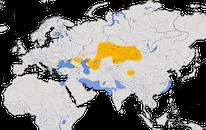 Karte zur Verbreitung des Krauskopfpelikans (Pelecanus crispus)