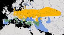 Karte zur Verbreitung der Beutelmeise (Remiz pendulinus)