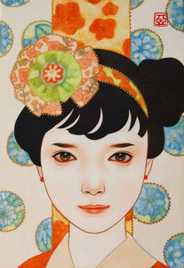 「ゆき」 雲肌麻紙に岩絵具、水干絵具、墨、顔彩 SM