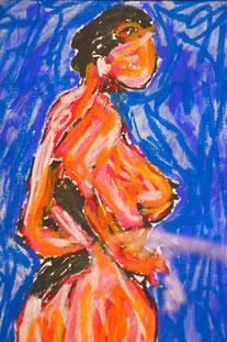 Bella Rouge, Bella Bleu, Bella Vert, Bella Jaune, Bellissima, akt, Damen, rot, grün, blau, gelb, Paris, Pastellkreide, auf Papier, Dina 4, Quattro, Divo Santino,