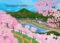 桜とロープウェイ