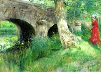 The bridge in Grez-sur-Loing, Carl Larsson