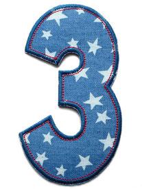 Bild: Geburtstagszahl 3, Zahlen Applikation Aufbügler als Geschenk zum 3. Geburtstag