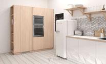 Cuisines CD DAUZET - Colonnes avec élément décoratif latéral en plaqué bois naturel, congélateur intégré avec ouverture verticale par système Gola
