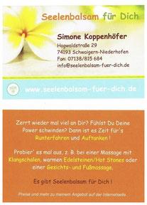 Visitenkarte Seelenbalsam für Dich - Simone Koppenhöfer