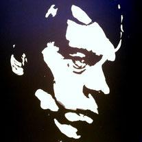 Portrait peinture blanche de Jacques BREL