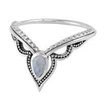 925 sterling zilver inner space ring rainbow moonstone