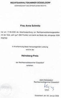 Heinsberg Preis der Rechtsanwaltskammer Düsseldorf