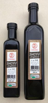 Shoyu orgânico vivo em embalagens de vidro 250ml e 500ml