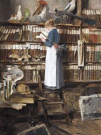 Edouard John Mentha, Lesendes Dienstmädchen in einer Bibliothek